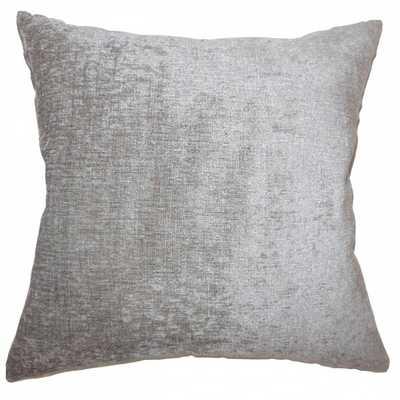 "Gefion Solid Pillow Silver -22"" x 22"" - Down Insert - Linen & Seam"