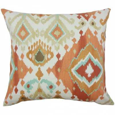 """Gannet Ikat Pillow Clay-  Orange, blue , tan - 18"""" x 18""""- high-fiber polyester pillow insert - Linen & Seam"""