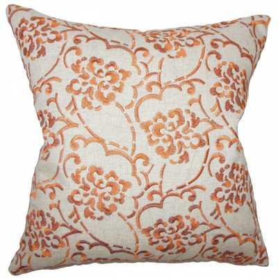 """Zaltana Floral Pillow Orange - 12"""" x 18"""" - insert - Linen & Seam"""