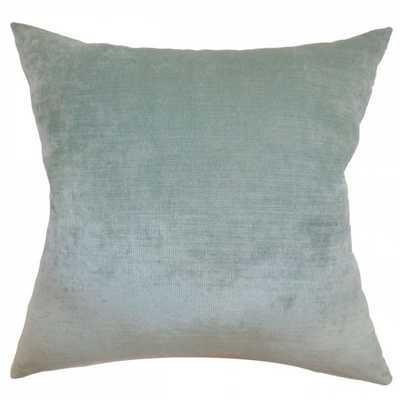 "Haye Solid Pillow Aqua - 20"" x 20"" - down insert - Linen & Seam"