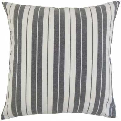 "Henley Stripes Pillow Black - 18"" x 18"" - With Insert - Linen & Seam"