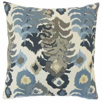 """Henriette Ikat Pillow Indigo - 20"""" x 20"""" - Down insert - Linen & Seam"""