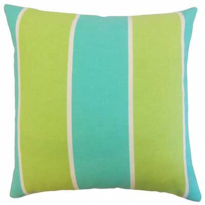 "Zahavah Outdoor Pillow Turquoise - 18"" x 18"" - Polyester Insert - Linen & Seam"