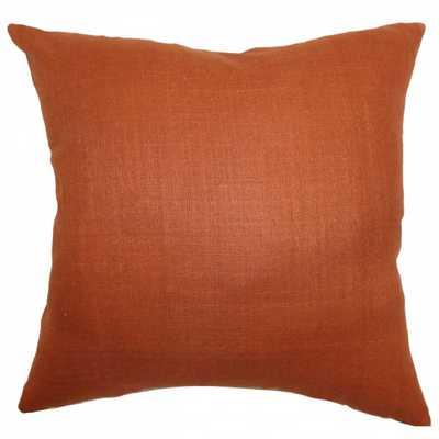 """Zaafira Solid Pillow Rust - 12"""" x 18"""" - With insert - Linen & Seam"""