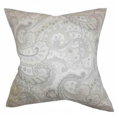 "Iphigenia Floral Pillow Gray - 18"" x 18"" - Polyester Insert - Linen & Seam"