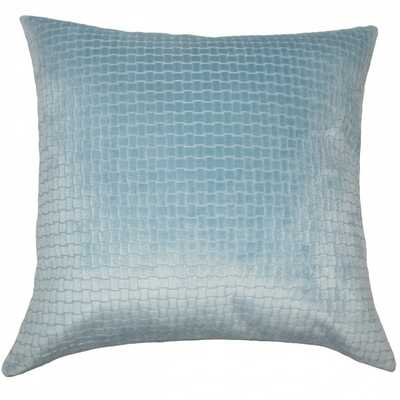 """Jacobean Solid Pillow Light Blue - 18"""" x 18"""" - Polyester Insert - Linen & Seam"""
