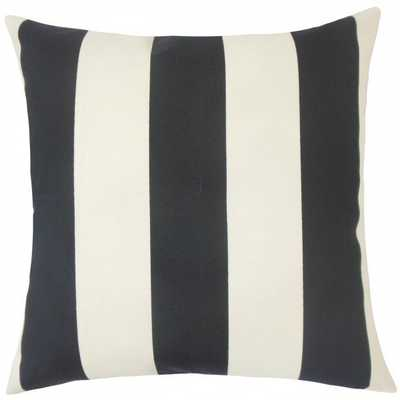 "Kanha Striped Pillow Ebony-20""Sq-with insert - Linen & Seam"