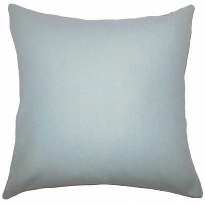 "Eire Solid Pillow Blue - 18"" x 18"" - Down Insert - Linen & Seam"