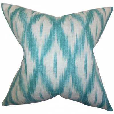 """Yitzhak Ikat Pillow Blue - 20"""" x 20"""" - Down Insert - Linen & Seam"""