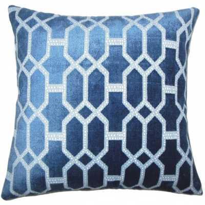 "Laine Geometric Pillow Lapis - 18"" x 18"" - Down Insert - Linen & Seam"