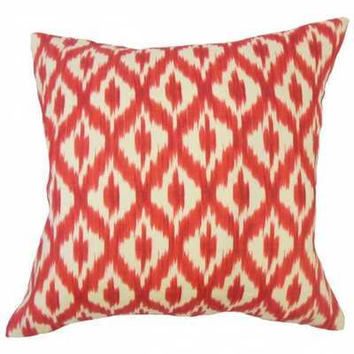"""Okapi Ikat Pillow Red - 18"""" x 18"""" - Down insert - Linen & Seam"""