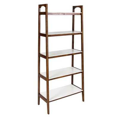 Mid-Century Pecan Brown finish Avalon Ladder Bookshef - Overstock