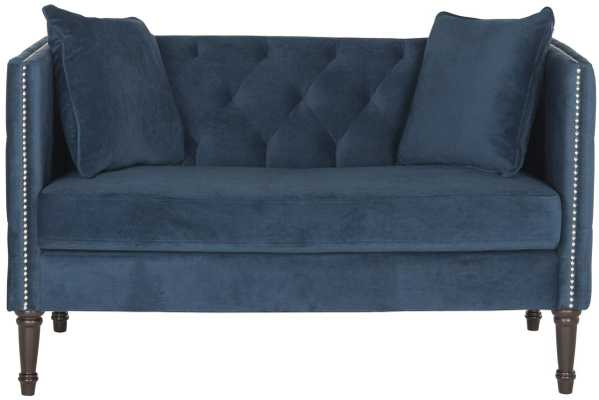 Sarah Tufted Settee with Pillows- Navy - Arlo Home
