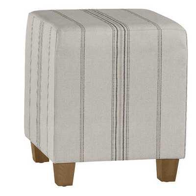 CUSTOM Cooper Upholstered Cube - Callisto Stripe Gray - Ballard Designs
