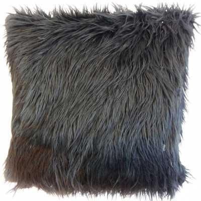 "Valeska Faux Fur Pillow Black-18"" x 18""-Down Insert - Linen & Seam"