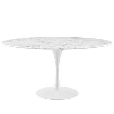 """LIPPA 60"""" ROUND ARTIFICIAL MARBLE DINING TABLE IN WHITE - Modway Furniture"""