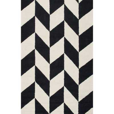 nuLOOM Handmade Mod Tiles Wool Black and White Rug (7'6 x 9'6) - Overstock