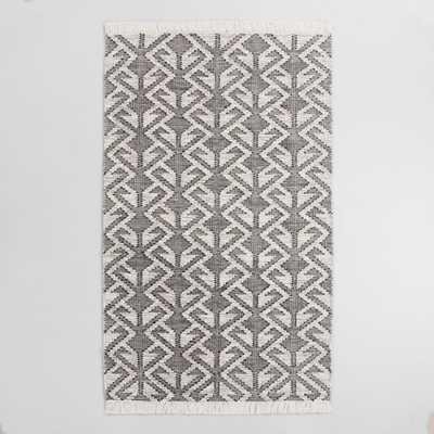 Black Graphic Woven Emerson Indoor Outdoor Area Rug - World Market/Cost Plus