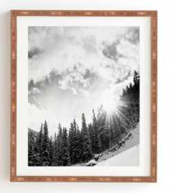 "WHITE MOUNTAIN Wall Art - 14"" x 16.5"" - Bamboo frame - Wander Print Co."
