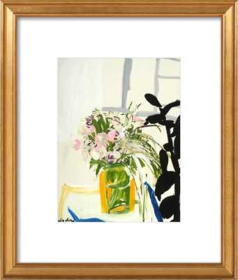 Flowers on a Table - 11x14 - Gold Leaf Wood Frame - Artfully Walls