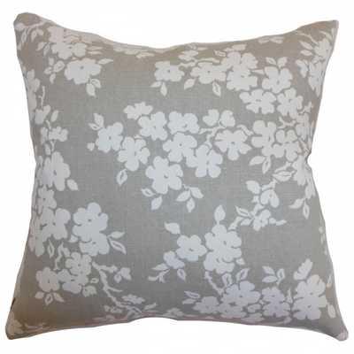 Vieste Floral Pillow Smoke- poly insert - Linen & Seam