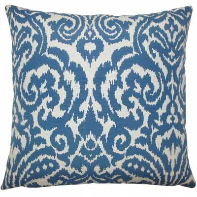 "Wafai Ikat Pillow Aegean - 22"" x 22"" - with insert - Linen & Seam"