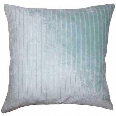 """Wanbli Striped Pillow Caribbean- 18"""" x 18""""- Blue - high fiber polyester pillow insert - Linen & Seam"""