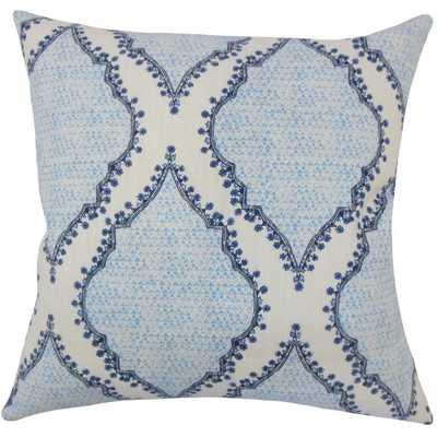"""Willem Geometric Pillow Blue-18"""" x 18""""- Polyester Insert - Linen & Seam"""