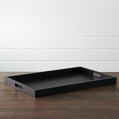 Zuma Black Rectangular Tray - Crate and Barrel