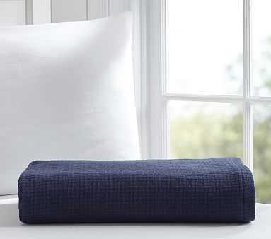 Organic Cotton Woven Blanket, Navy, Full/Queen - Pottery Barn Kids