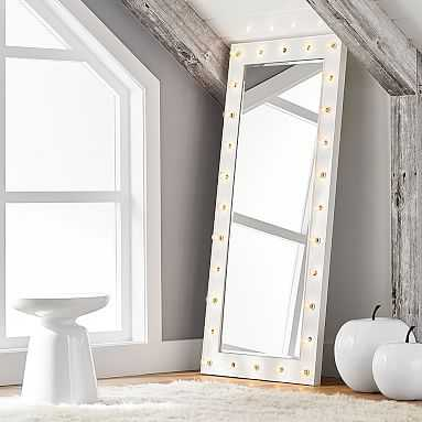 "Marquee Light Floor Length Mirror, 59"" x 28"" - Pottery Barn Teen"