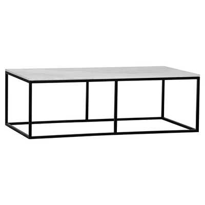 Coen Industrial Black Metal Outline White Stone Coffee Table - Kathy Kuo Home