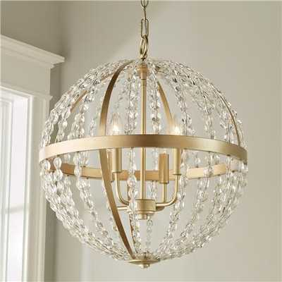 Crystal and Gold Globe Chandelier - Large - Shades of Light