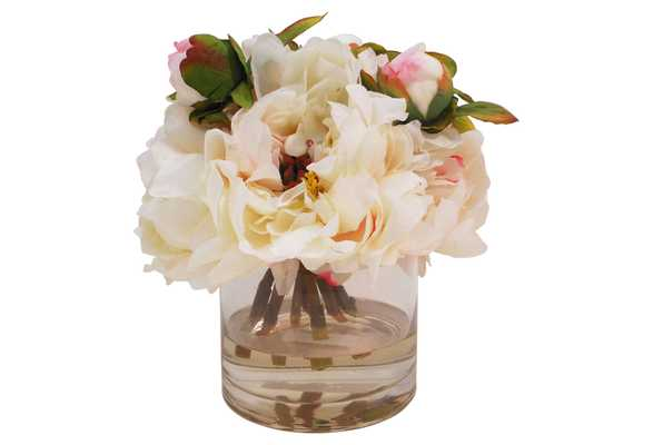 """10"""" Peonies in Cylinder Vase, classic, Faux - One Kings Lane"""