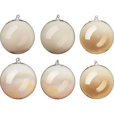 luster gold ornaments set of six - CB2