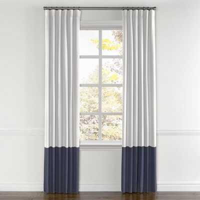 Custom Color Blocked Convertible Drapery Panels - White/Navy - Split Panel - No Lining - Loom Decor