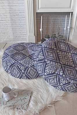 "Shakami Denim - 26"" Round Floor Pillow - Wander Print Co."