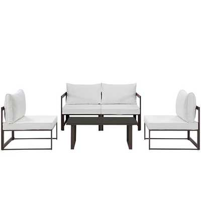 FORTUNA 5 PIECE OUTDOOR PATIO SECTIONAL SOFA SET IN BROWN WHITE - Modway Furniture