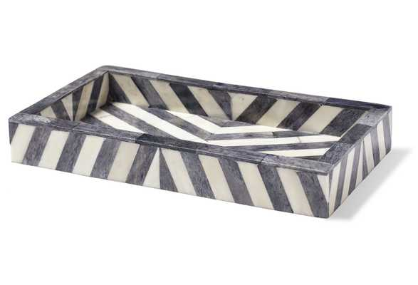 Bristol Tray, Handcrafted, Gray/White - One Kings Lane