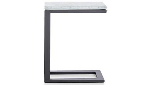 Parsons White Marble Top/ Dark Steel Base 20x12 C Table - Crate and Barrel