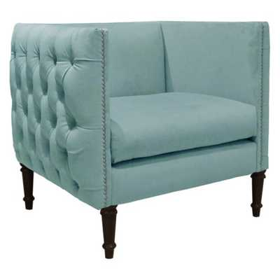 Nail Button Arm Chair in Velvet Caribbean - Third & Vine