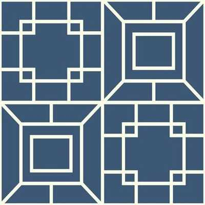 Theorem Geometric Wallpaper in Blue and White by Ashford House for York Wallcoverings - Burke Decor