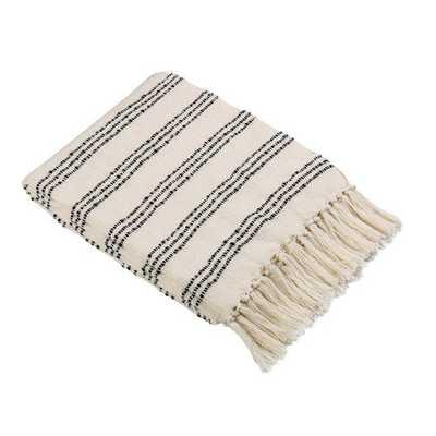White Throw Blanket with Black Stripes - Target