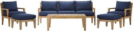 Home Decorators Collection Bermuda 6-Piece All-Weather Eucalyptus Wood Patio Seating Set - Indigo - Home Decorators