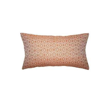 """Calanthe Geometric Pillow Melon - Lumbar 12"""" x 18"""" with down insert - Linen & Seam"""