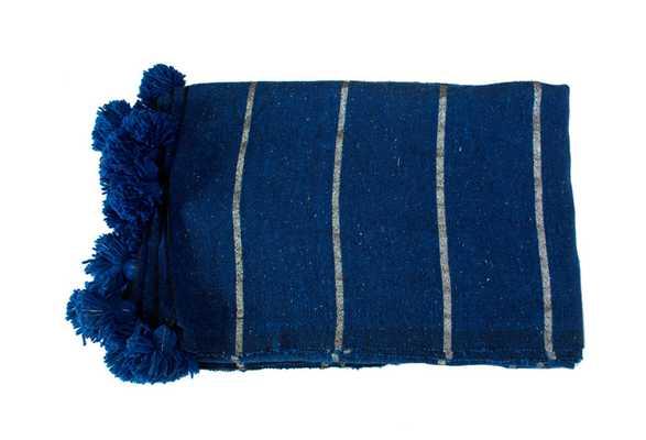 Moroccan Pom-Pom Blanket, Blue/Silver - One Kings Lane