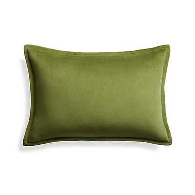 "Brenner Leaf Green 18""x12"" Velvet Pillow with Feahter-Down Insert - Crate and Barrel"