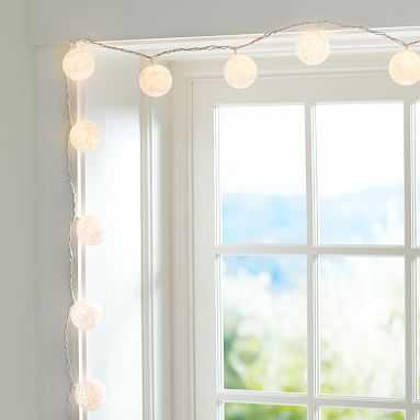 Woven Globe String Lights, White - Pottery Barn Teen