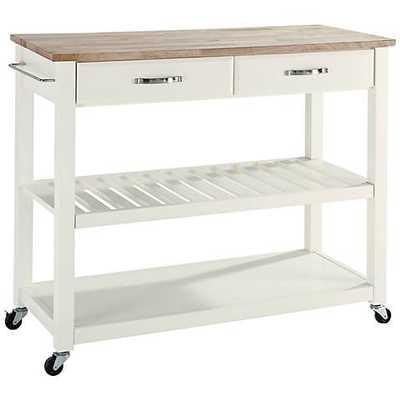 Sheffield Wood Top 2-Drawer Kitchen Island Cart white - Lamps Plus