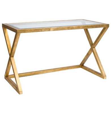 Vanessa Hollywood Regency Gold Leaf Glass Desk - Kathy Kuo Home